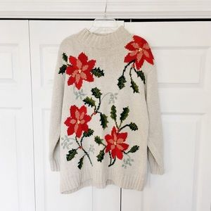 Vintage | Floral Oversized Mock Neck Sweater